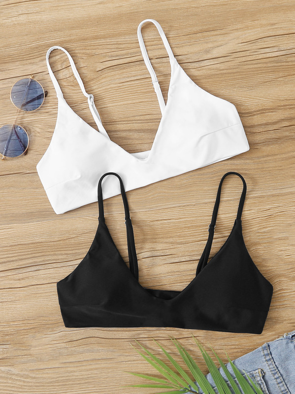 V Neck Bikini Top 2pack by Sheinside