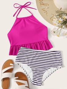 Ruffle Hem Halter Top With Striped Bikini Set