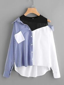 Plus Pocket Front Cut And Sew High Low Blouse