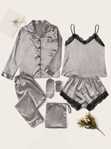 7pcs Lace Trim Satin Pajama Set