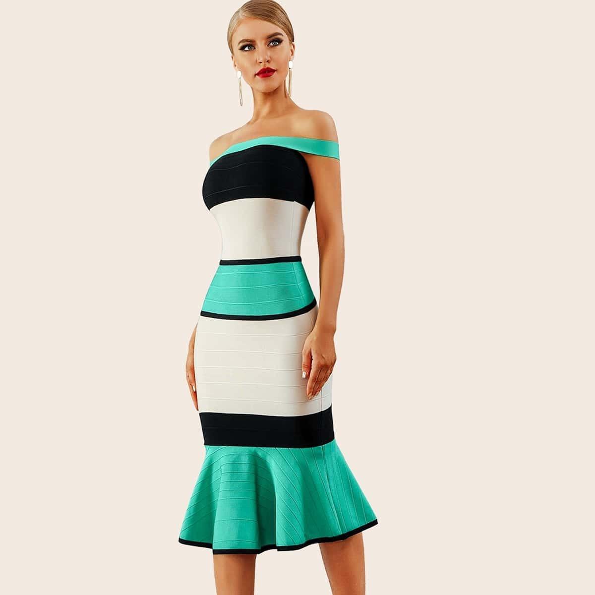 контрастное платье-русалка с открытыми плечами