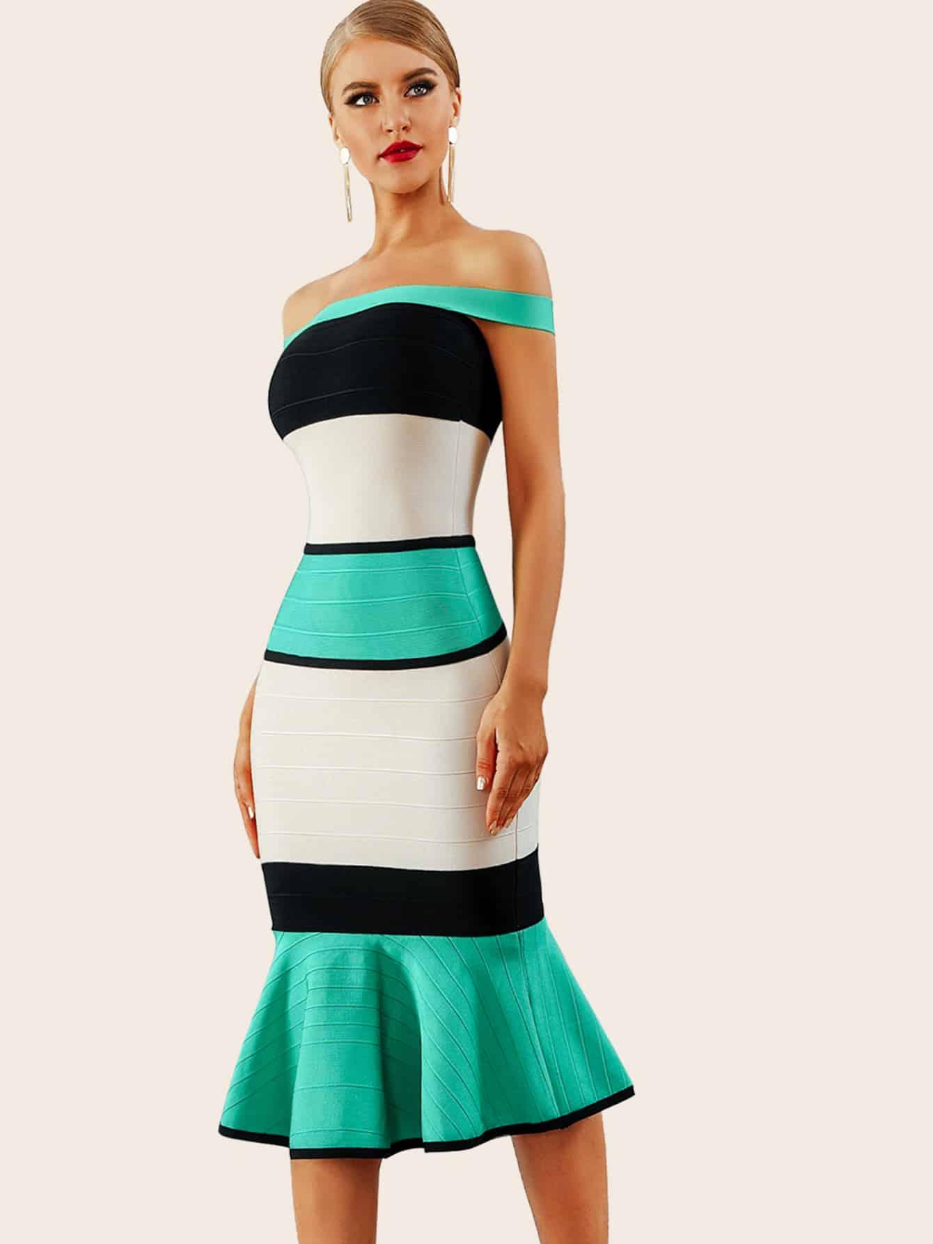 Color-block Fishtail Hem Bardot Dress thumbnail