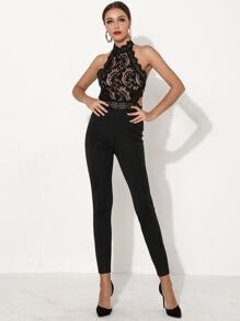 Missord Backless Halterneck Lace Jumpsuit