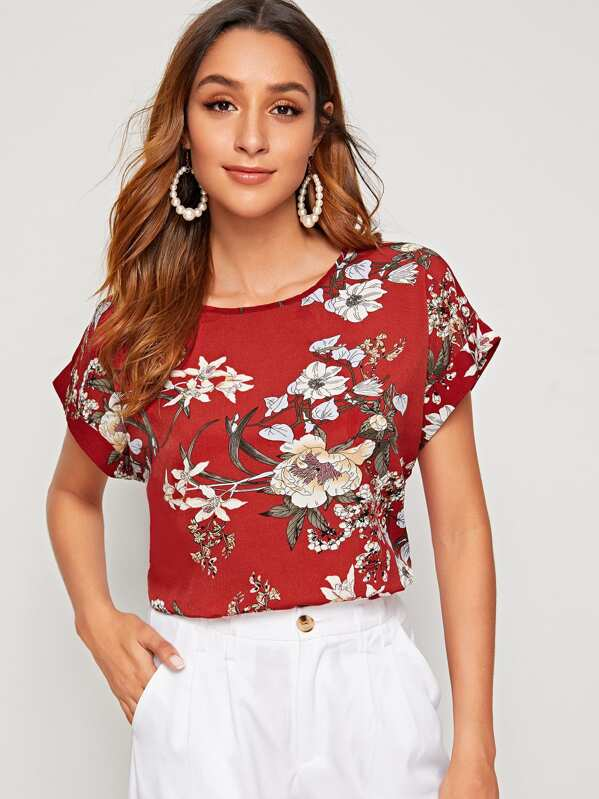 7d873f4741 Floral Print Roll Up Sleeve Top