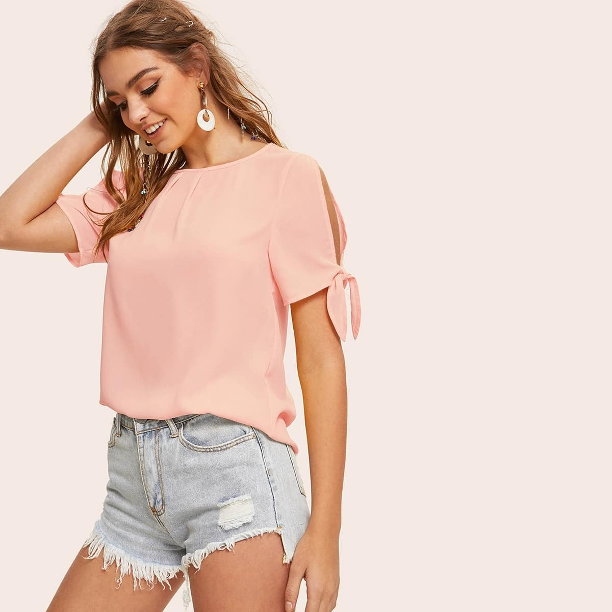 Розовая Блуза С Широкими Завязками На Рукавах SheIn swblouse07190722235