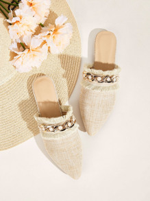 Faux Pearl Chain Decor Flat Mules