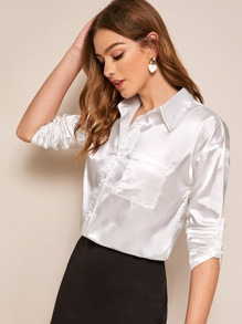 Solid Button Front Pocket Satin Blouse