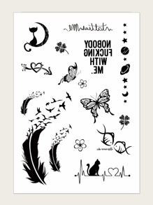 Butterfly & Feather Pattern Tattoo Sticker 1sheet