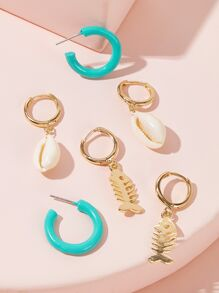 Shell & Fish Hoop Drop Earrings 3pairs