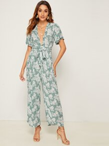 Plunge Neck Tropical Print Belted Jumpsuit