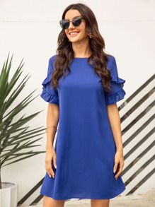Solid Ruffle Trim Dress