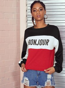 Letter Print Color Block Sweatshirt