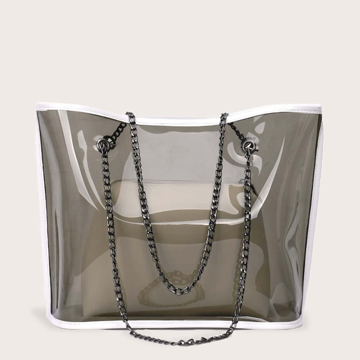 Klare PVC Kette Einkaufstasche mit innerer Kupplung