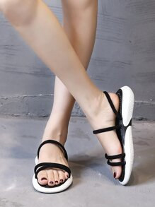 Open Toe Strappy Flat Sliders