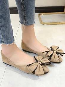 Bow Decor Suede Flats