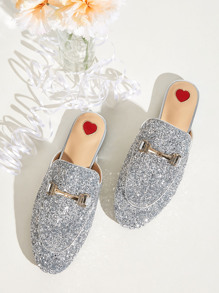 Metal Decor Glitter Flat Mules