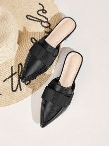 Point Toe Bow Decor Flat Mules