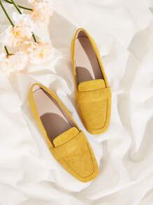 Square Toe Suede Flats
