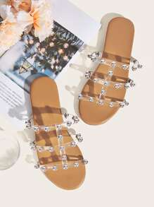Studded Clear Strap Flat Sliders