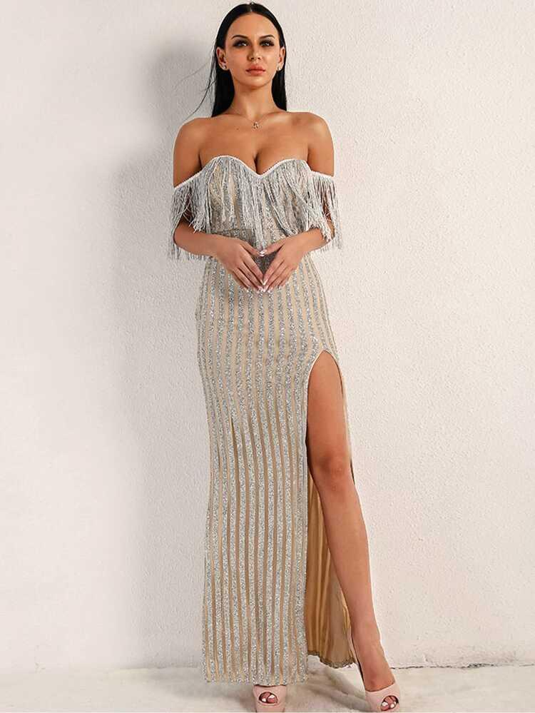 haute qualité style à la mode à vendre Missord Robe longue fendue à sequins avec franges et col bardot