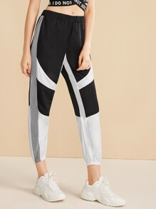 Elastic Waist Cut And Sew Panel Sweatpants