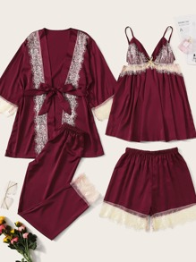 4pcs Contrast Lace Cami PJ Set With Robe
