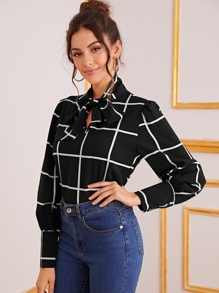 Tie Neck Buttoned Cuff Plaid Blouse