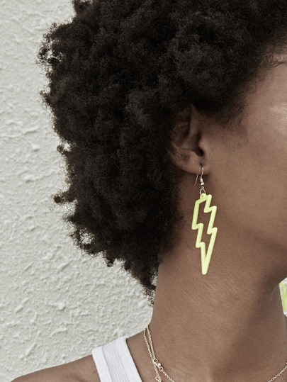 Neon Lime Lightning Bolt Ohrringe 1 Paar