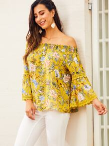 SBetro Off Shoulder Floral Print Lace Insert Top