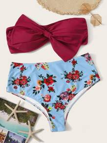 Plus Bow Front Bandeau With Floral Bikini Set