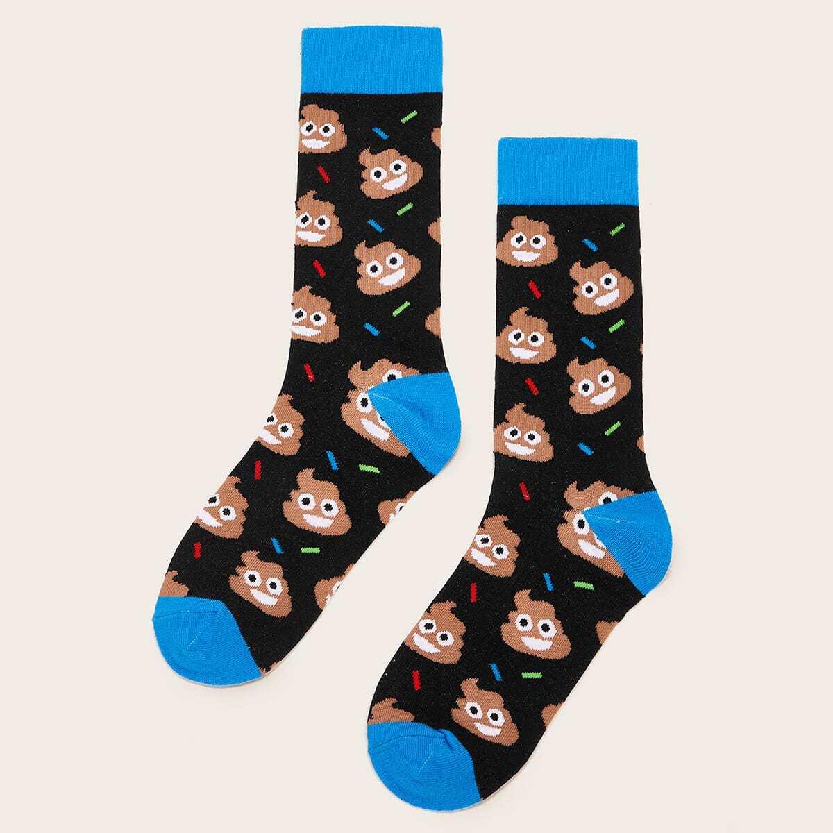 Men Cartoon Pattern Socks 1pair, SHEIN  - buy with discount