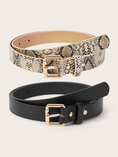 Snakeskin Pattern Metal Buckle Belt 2pcs