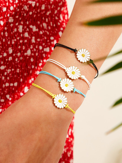 Daisy Decor String Bracelet 4pcs