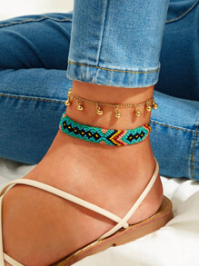 Bead Charm & Tribal Braided Anklet 2pcs