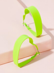 Heart Shaped Neon Green Hoop Earrings 1pair