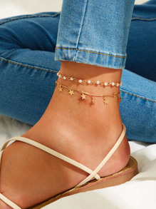 Star Charm & Faux Pearl Decor Anklet 2pcs