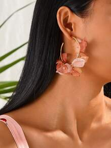 Mesh Flower Semicircle Drop Earrings 1pair