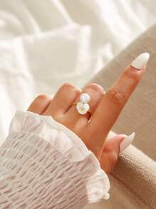 Flower & Faux Pearl Decor Ring 1pc