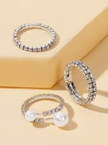 Rhinestone Engraved Faux Pearl Decor Ring 3pcs