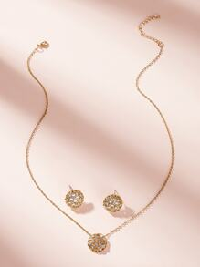 Hollow Out Round Charm Chain Necklace & Earrings 3pcs