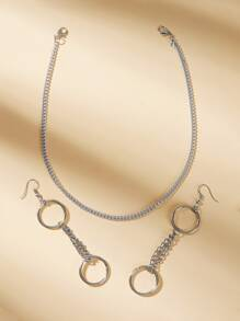 Round Chain Design Earrings & Necklace 3pcs