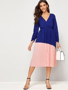 Surplice V-neck Cut And Sew Pleated Dress