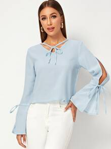 Bell Detail Split Sleeve Side Blouse