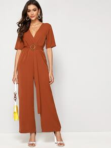 Solid Tie Waist Wide Leg Jumpsuit