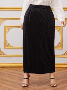 Plus Solid Velvet Maxi Skirt