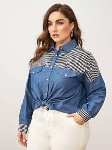 Plus Gingham Contrast Drop Shoulder Denim Blouse