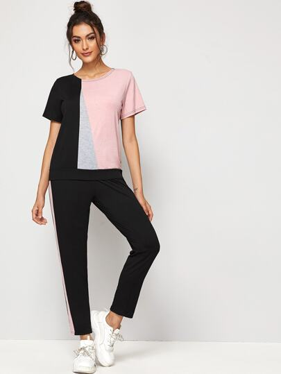 Color Block Tee & Pants