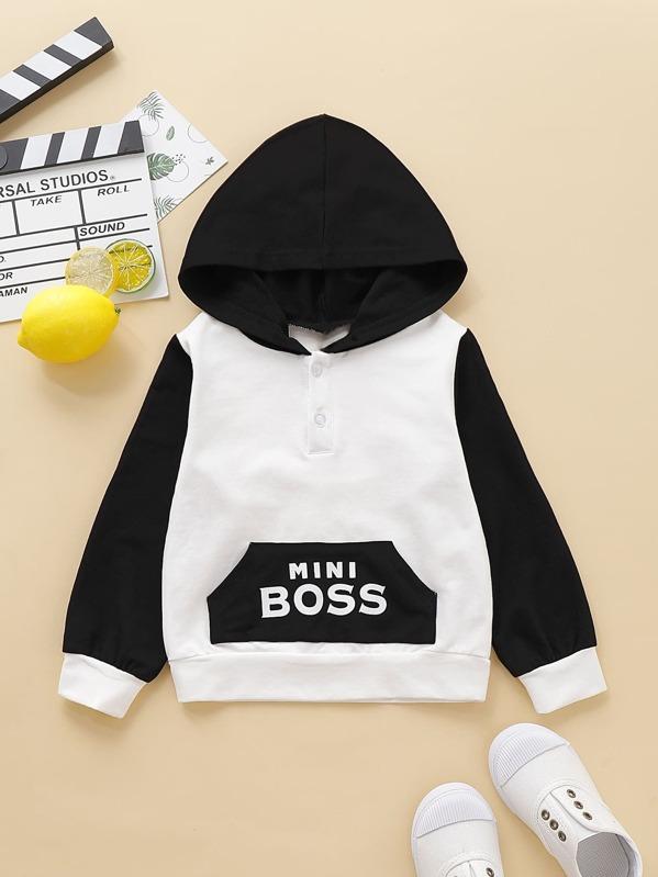 5f4a916169 Toddler Boys Colour-block Letter Print Hooded Sweatshirt