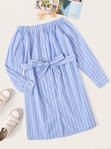 Striped Button Through Belted Dress