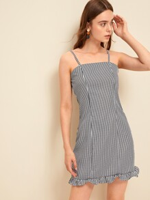 Plaid Frill Hem Slip Dress